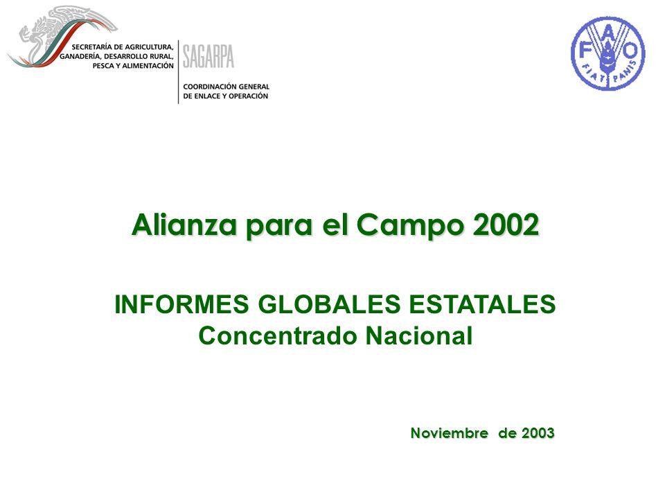 Alianza para el Campo 2002 INFORMES GLOBALES ESTATALES Concentrado Nacional Noviembre de 2003