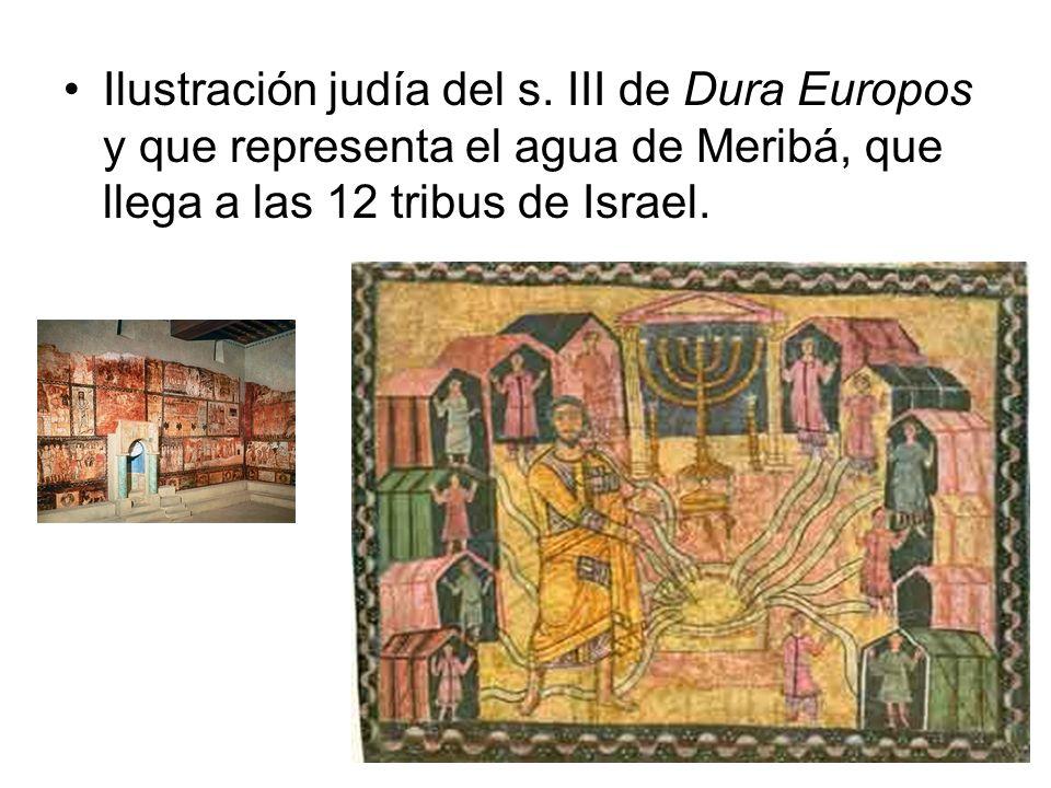 Ilustración judía del s. III de Dura Europos y que representa el agua de Meribá, que llega a las 12 tribus de Israel.