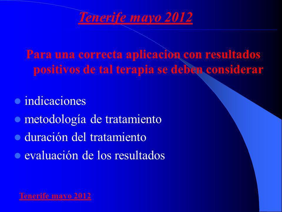 Para una correcta aplicacion con resultados positivos de tal terapia se deben considerar indicaciones metodología de tratamiento duración del tratamie
