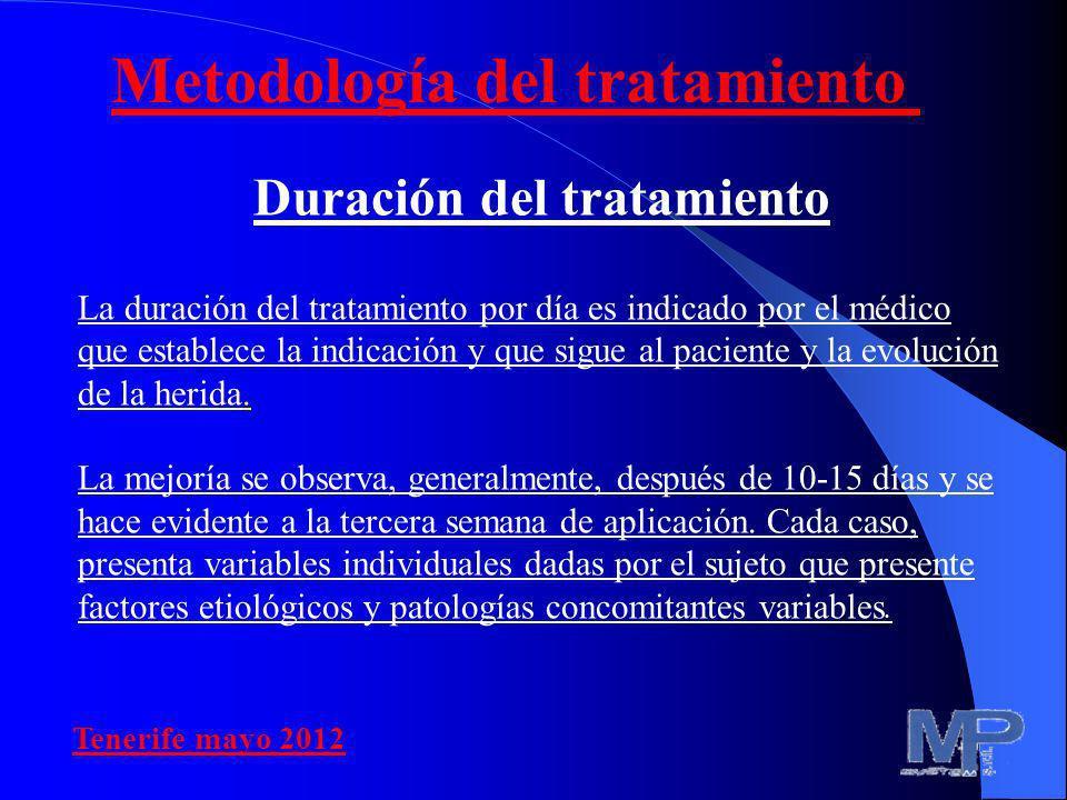 Duración del tratamiento La duración del tratamiento por día es indicado por el médico que establece la indicación y que sigue al paciente y la evoluc