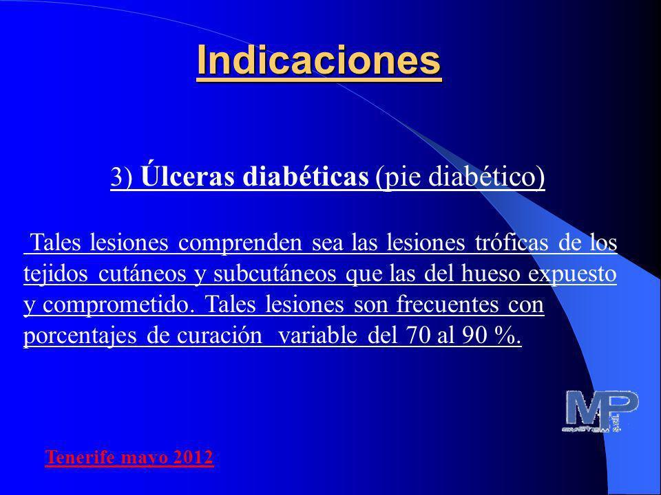 3) Úlceras diabéticas (pie diabético) Tales lesiones comprenden sea las lesiones tróficas de los tejidos cutáneos y subcutáneos que las del hueso expu