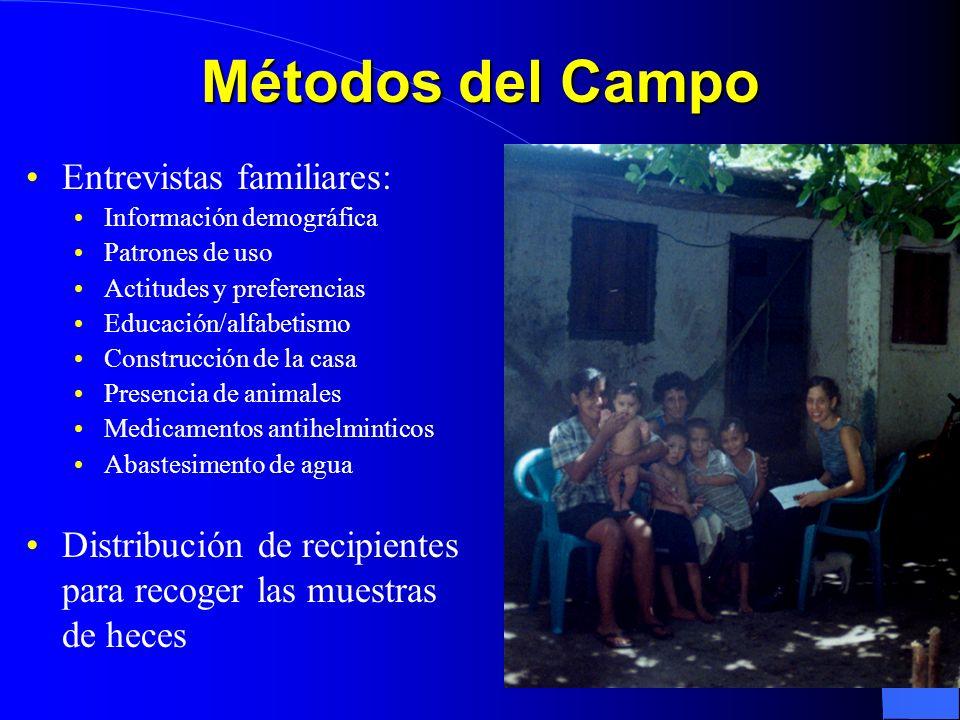 Métodos del Campo Entrevistas familiares: Información demográfica Patrones de uso Actitudes y preferencias Educación/alfabetismo Construcción de la ca