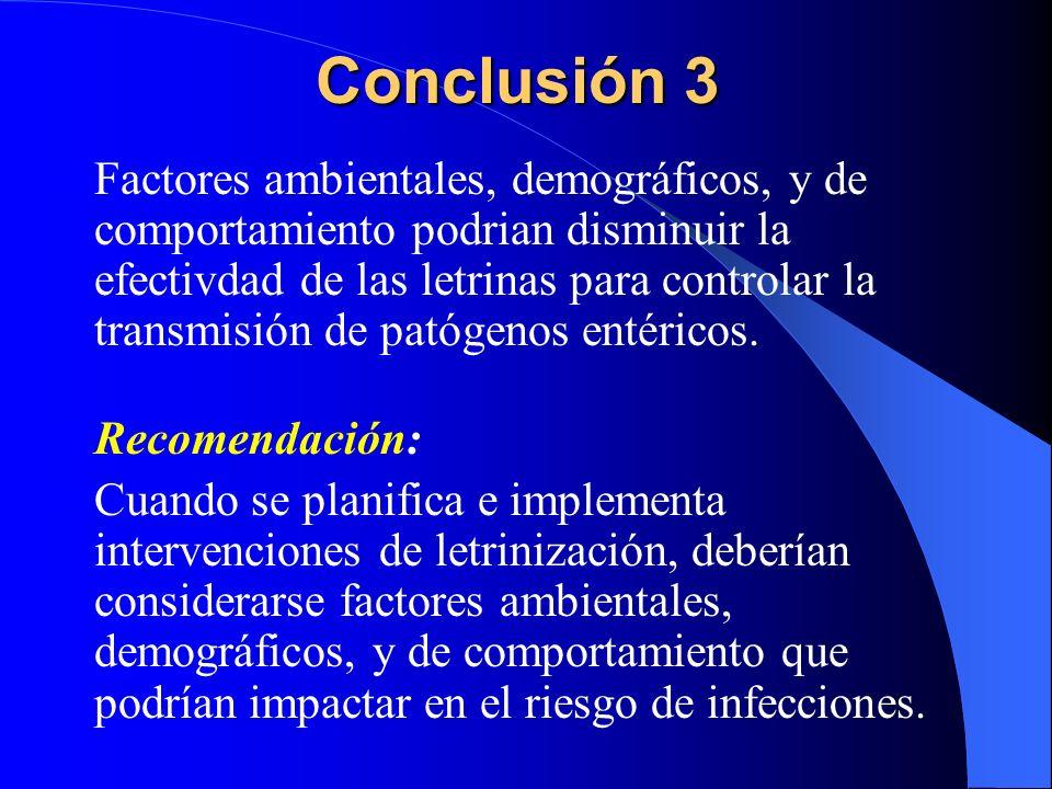Conclusión 3 Factores ambientales, demográficos, y de comportamiento podrian disminuir la efectivdad de las letrinas para controlar la transmisión de