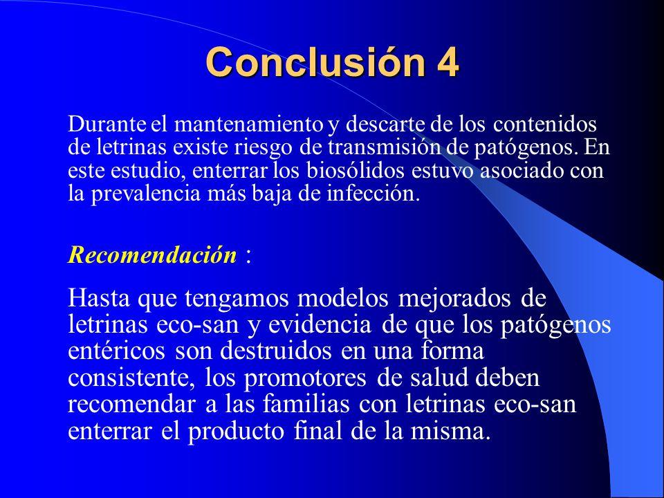 Conclusión 4 Durante el mantenamiento y descarte de los contenidos de letrinas existe riesgo de transmisión de patógenos. En este estudio, enterrar lo