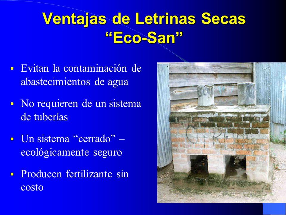 Ventajas de Letrinas Secas Eco-San Evitan la contaminación de abastecimientos de agua No requieren de un sistema de tuberías Un sistema cerrado – ecol