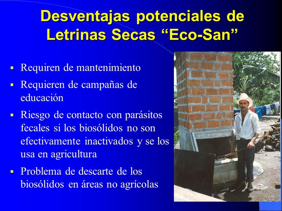 Desventajas potenciales de Letrinas Secas Eco-San Requiren de mantenimiento Requieren de campañas de educación Riesgo de contacto con parásitos fecale