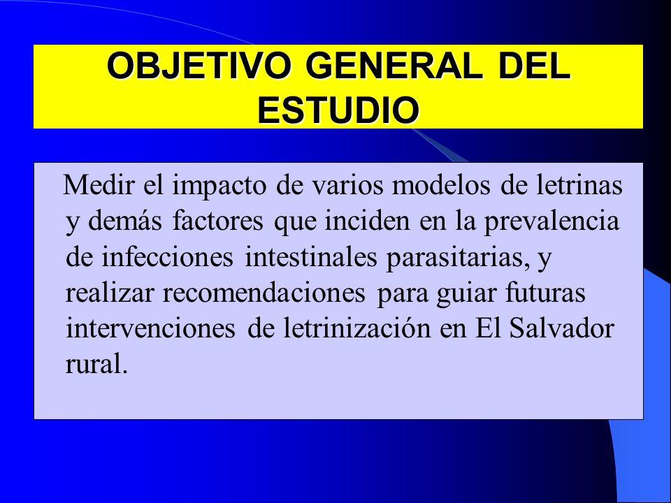 OBJETIVO GENERAL DEL ESTUDIO Medir el impacto de varios modelos de letrinas y demás factores que inciden en la prevalencia de infecciones intestinales