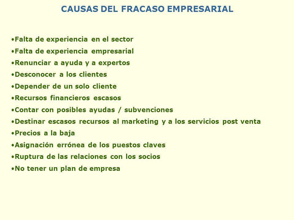 CAUSAS DEL FRACASO EMPRESARIAL Falta de experiencia en el sector Falta de experiencia empresarial Renunciar a ayuda y a expertos Desconocer a los clie