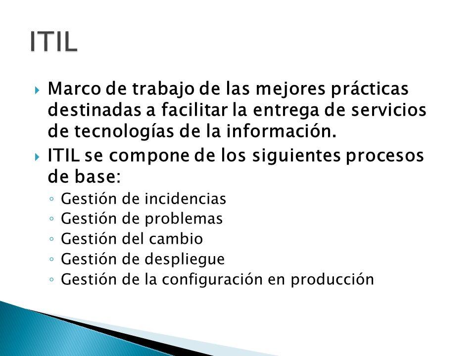 Marco de trabajo de las mejores prácticas destinadas a facilitar la entrega de servicios de tecnologías de la información. ITIL se compone de los sigu