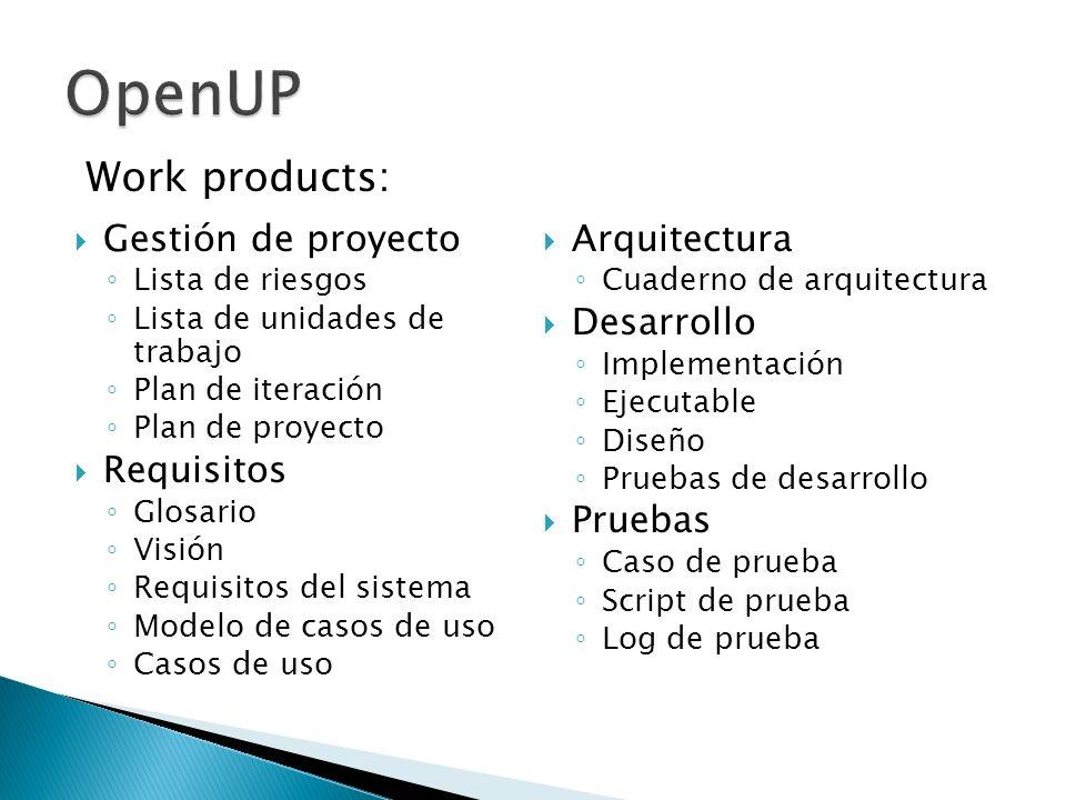 Gestión de proyecto Lista de riesgos Lista de unidades de trabajo Plan de iteración Plan de proyecto Requisitos Glosario Visión Requisitos del sistema