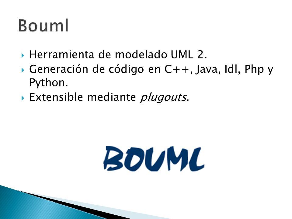 Herramienta de modelado UML 2. Generación de código en C++, Java, Idl, Php y Python. Extensible mediante plugouts.
