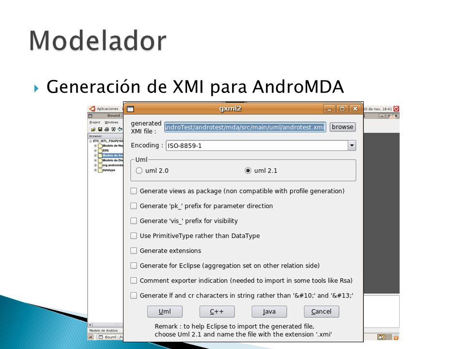 Generación de XMI para AndroMDA
