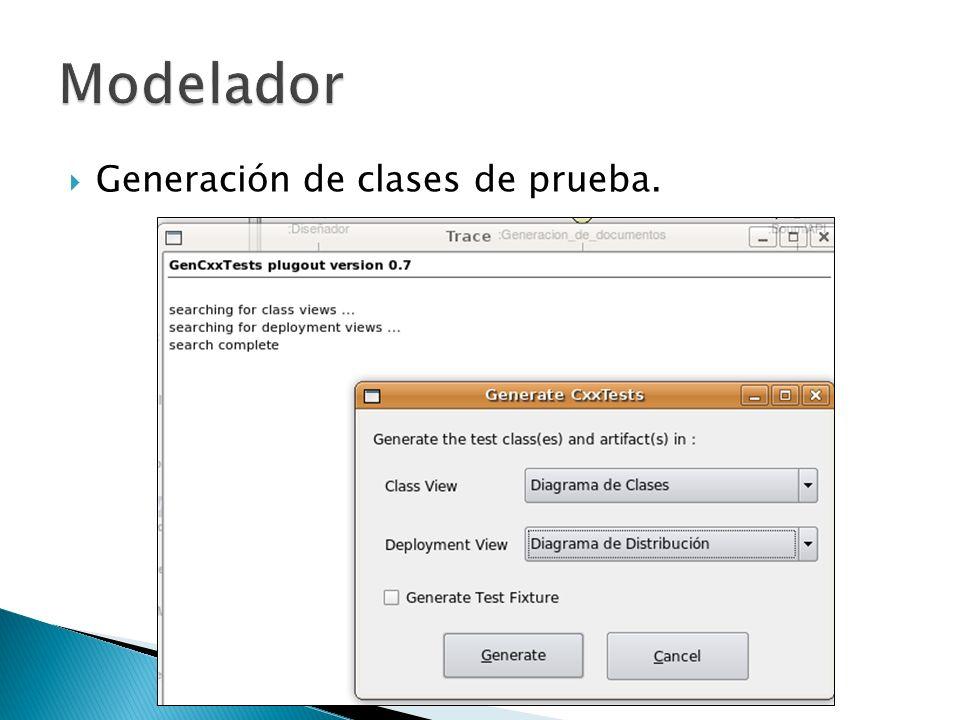 Generación de clases de prueba.