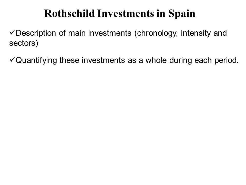 Description of main investments (chronology, intensity and sectors) Quantifying these investments as a whole during each period. Rothschild Investment