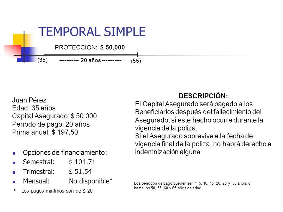 TEMPORAL SIMPLE Opciones de financiamiento: Semestral:$ 101.71 Trimestral:$ 51.54 Mensual:No disponible * * Los pagos mínimos son de $ 20 Juan Pérez E
