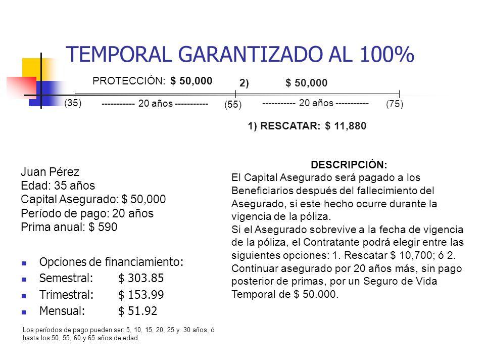 TEMPORAL GARANTIZADO AL 100% Opciones de financiamiento: Semestral:$ 303.85 Trimestral:$ 153.99 Mensual:$ 51.92 Juan Pérez Edad: 35 años Capital Asegu