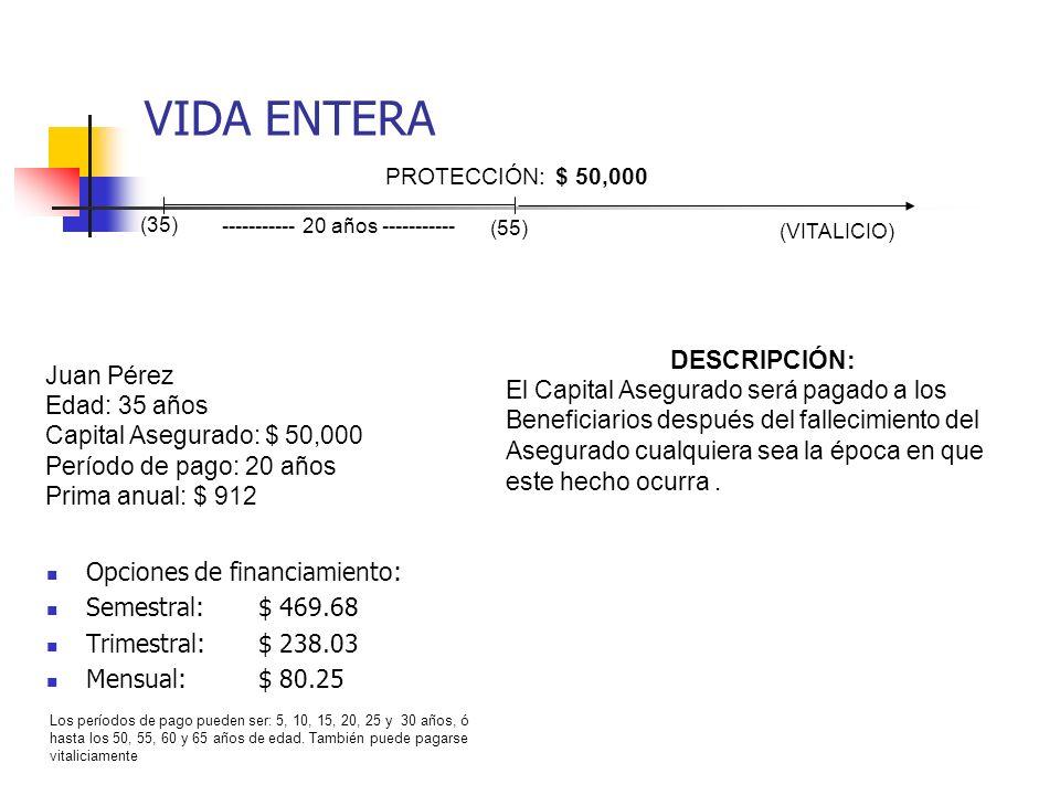 VIDA ENTERA Opciones de financiamiento: Semestral:$ 469.68 Trimestral:$ 238.03 Mensual:$ 80.25 Juan Pérez Edad: 35 años Capital Asegurado: $ 50,000 Pe