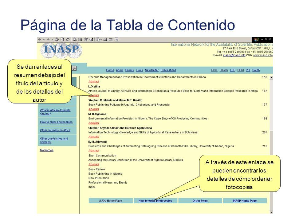 Página de la Tabla de Contenido Se dan enlaces al resumen debajo del título del artículo y de los detalles del autor A través de este enlace se pueden