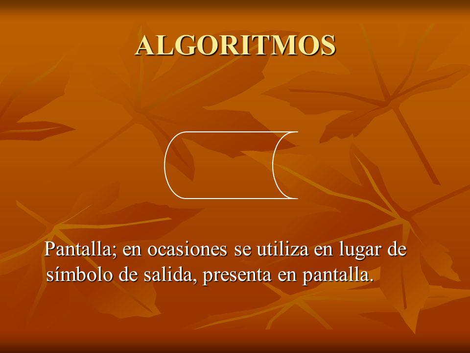 ALGORITMOS Pantalla; en ocasiones se utiliza en lugar de símbolo de salida, presenta en pantalla. Pantalla; en ocasiones se utiliza en lugar de símbol