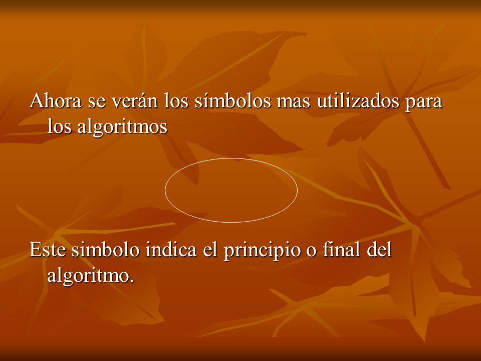 Ahora se verán los símbolos mas utilizados para los algoritmos Este simbolo indica el principio o final del algoritmo.