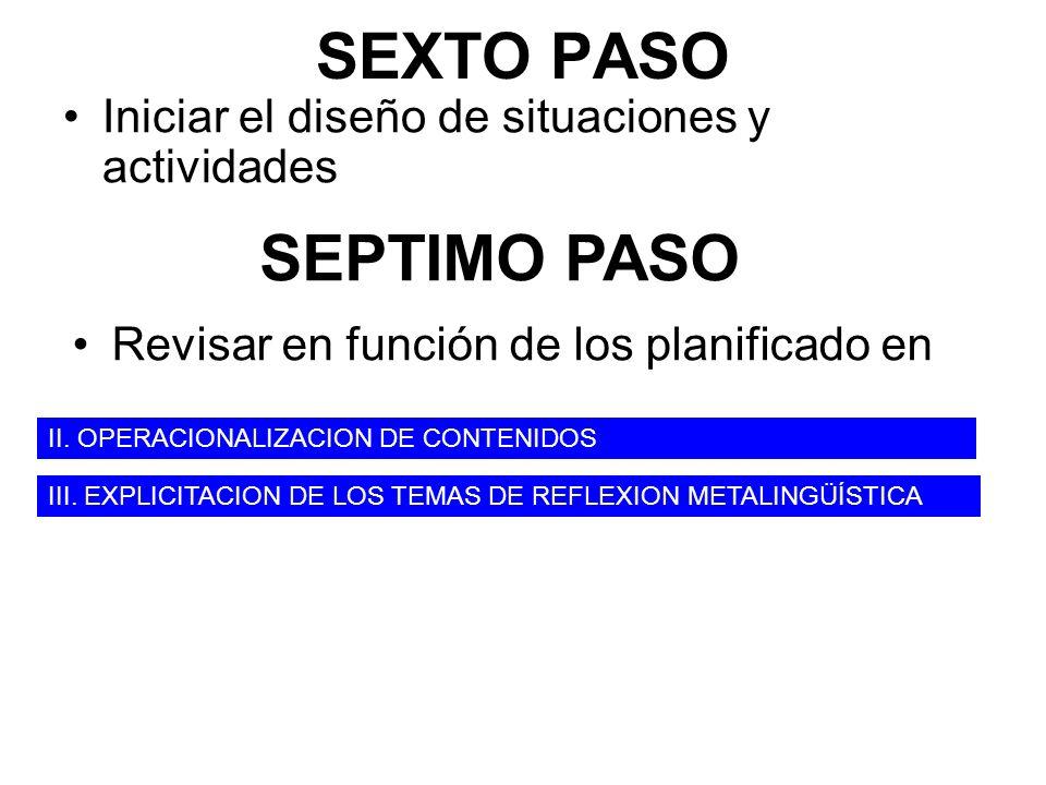 SEXTO PASO Iniciar el diseño de situaciones y actividades SEPTIMO PASO Revisar en función de los planificado en III. EXPLICITACION DE LOS TEMAS DE REF