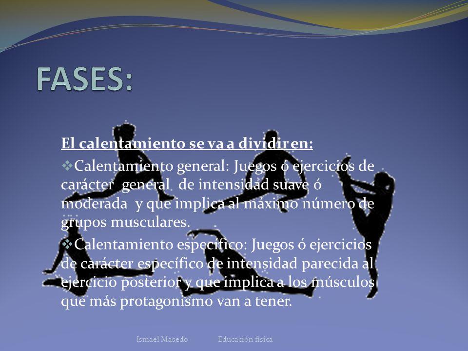 FASES Desplazamiento: ejercicios aeróbicos(Ej: carrera ).Duración: 5-8 minutos.