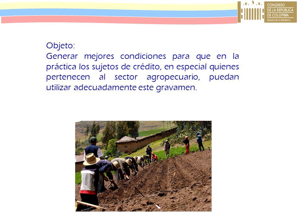 Objeto: Generar mejores condiciones para que en la práctica los sujetos de crédito, en especial quienes pertenecen al sector agropecuario, puedan util