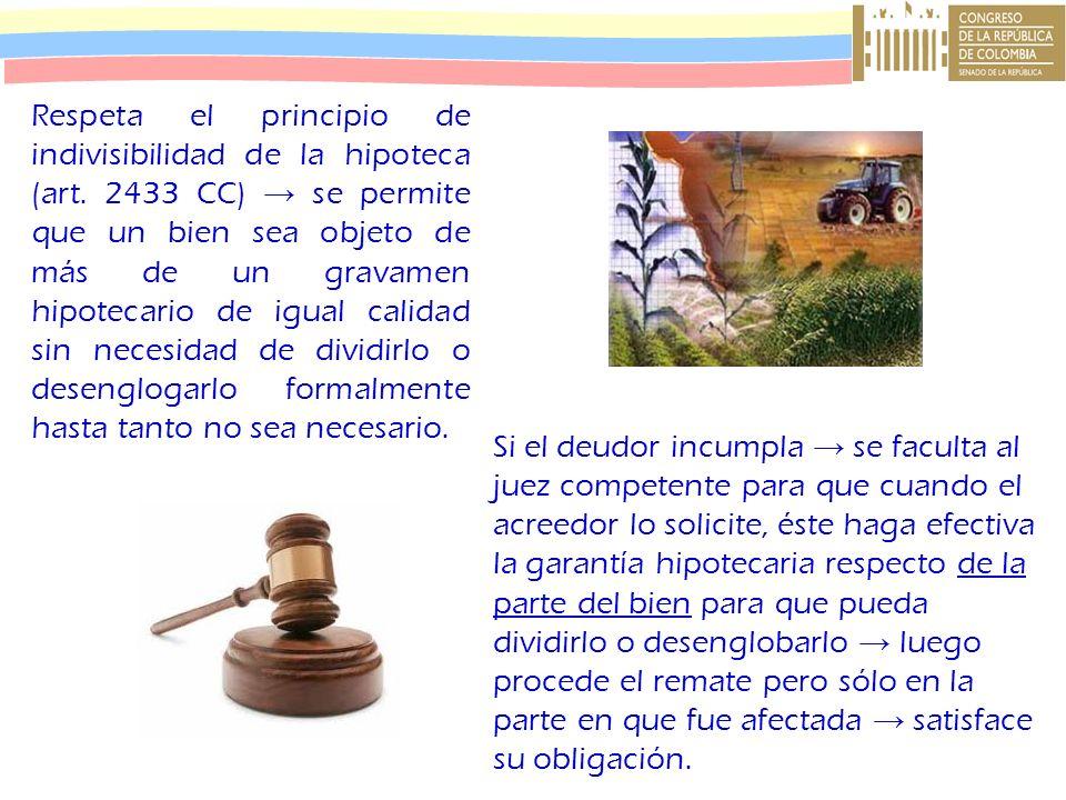 Respeta el principio de indivisibilidad de la hipoteca (art. 2433 CC) se permite que un bien sea objeto de más de un gravamen hipotecario de igual cal