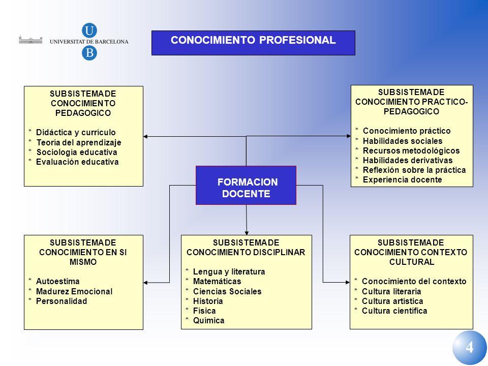 4 CONOCIMIENTO PROFESIONAL SUBSISTEMA DE CONOCIMIENTO PEDAGOGICO * Didáctica y currículo * Teoría del aprendizaje * Sociología educativa * Evaluación