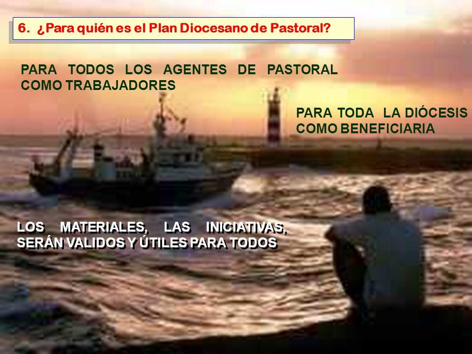 6. ¿Para quién es el Plan Diocesano de Pastoral? PARA TODOS LOS AGENTES DE PASTORAL COMO TRABAJADORES PARA TODA LA DIÓCESIS COMO BENEFICIARIA LOS MATE