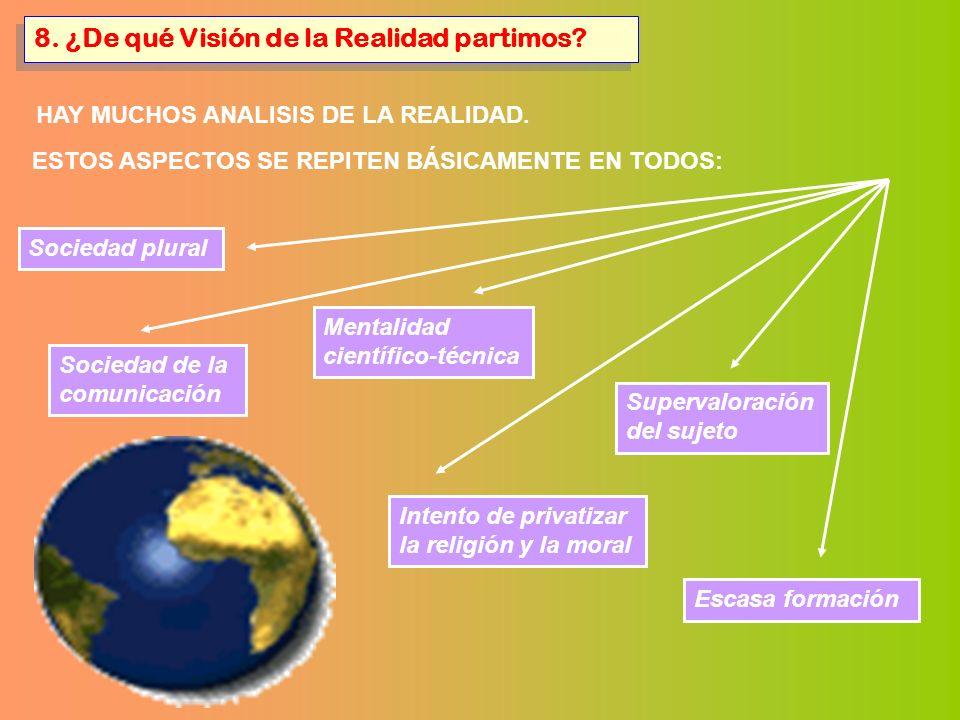8. ¿De qué Visión de la Realidad partimos? HAY MUCHOS ANALISIS DE LA REALIDAD. ESTOS ASPECTOS SE REPITEN BÁSICAMENTE EN TODOS: Sociedad plural Mentali