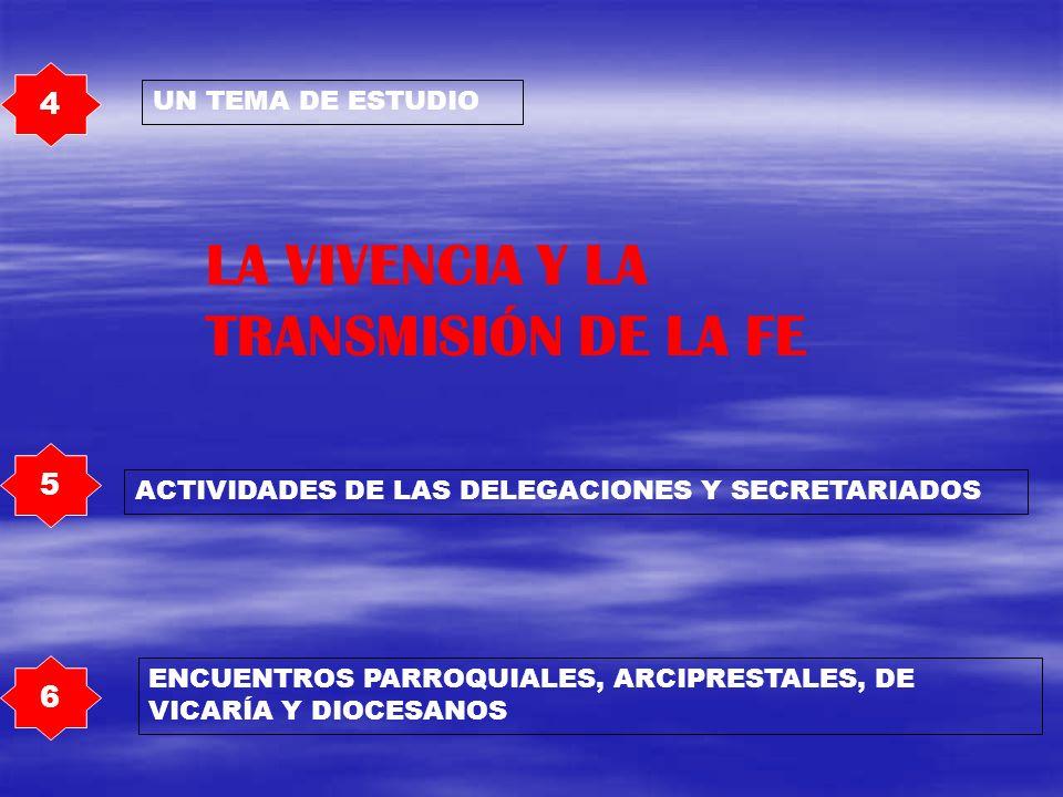 4 UN TEMA DE ESTUDIO LA VIVENCIA Y LA TRANSMISIÓN DE LA FE 5 6 ACTIVIDADES DE LAS DELEGACIONES Y SECRETARIADOS ENCUENTROS PARROQUIALES, ARCIPRESTALES,