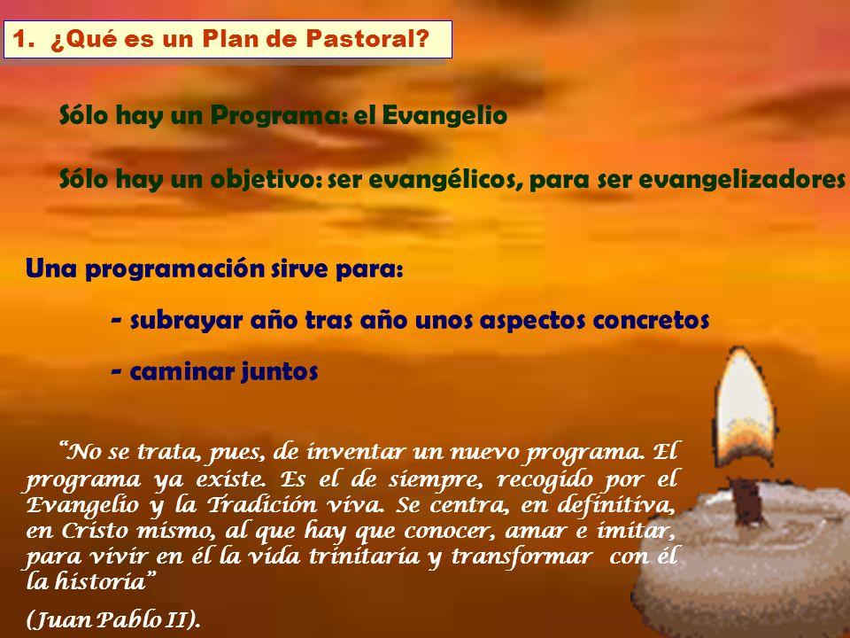 1. ¿Qué es un Plan de Pastoral? Una programación sirve para: - subrayar año tras año unos aspectos concretos - caminar juntos No se trata, pues, de in