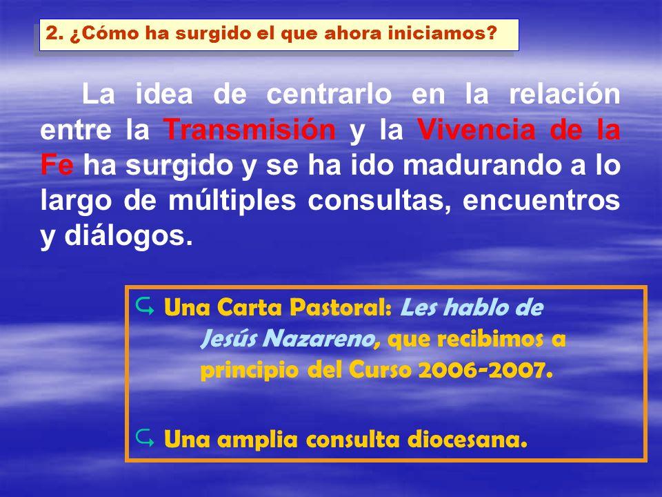 1 UN CARTEL COMO MEMORIA PERMANENTE 2 UNA CARTA PASTORAL DEL OBISPO 3 UNAS CATEQUESIS BÁSICAS COMUNES 4 UN TEMA DE ESTUDIO 5 ACTIVIDADES DE LAS DELEGACIONES Y SECRETARIADOS 6 ENCUENTROS PARROQUIALES, ARCIPRESTALES, DE VICARÍA Y DIOCESANOS