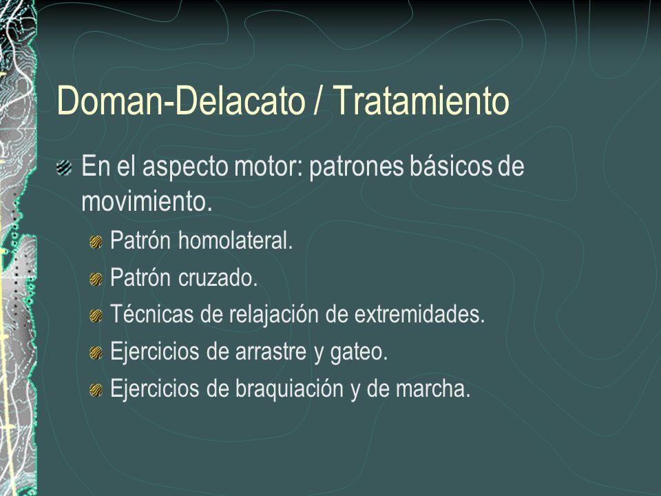 Doman-Delacato / Tratamiento En el aspecto motor: patrones básicos de movimiento. Patrón homolateral. Patrón cruzado. Técnicas de relajación de extrem