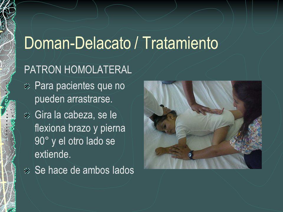 Doman-Delacato / Tratamiento PATRON HOMOLATERAL Para pacientes que no pueden arrastrarse. Gira la cabeza, se le flexiona brazo y pierna 90° y el otro