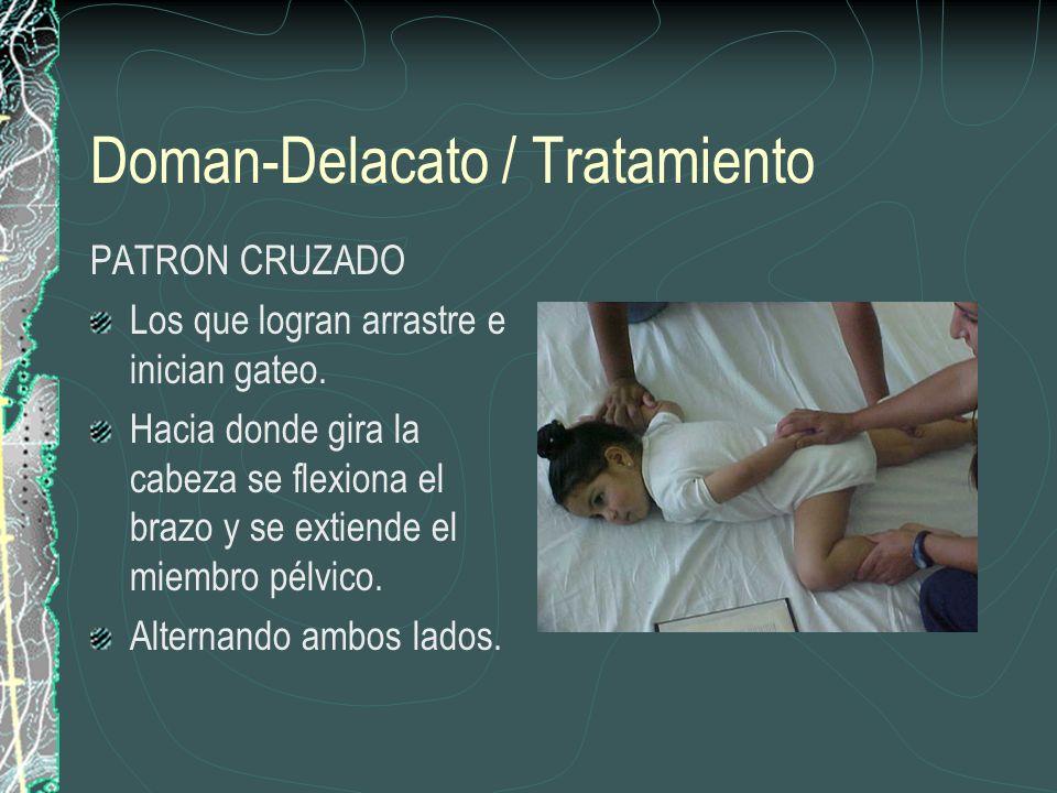 Doman-Delacato / Tratamiento PATRON CRUZADO Los que logran arrastre e inician gateo. Hacia donde gira la cabeza se flexiona el brazo y se extiende el