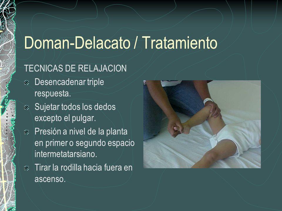 Doman-Delacato / Tratamiento TECNICAS DE RELAJACION Desencadenar triple respuesta. Sujetar todos los dedos excepto el pulgar. Presión a nivel de la pl