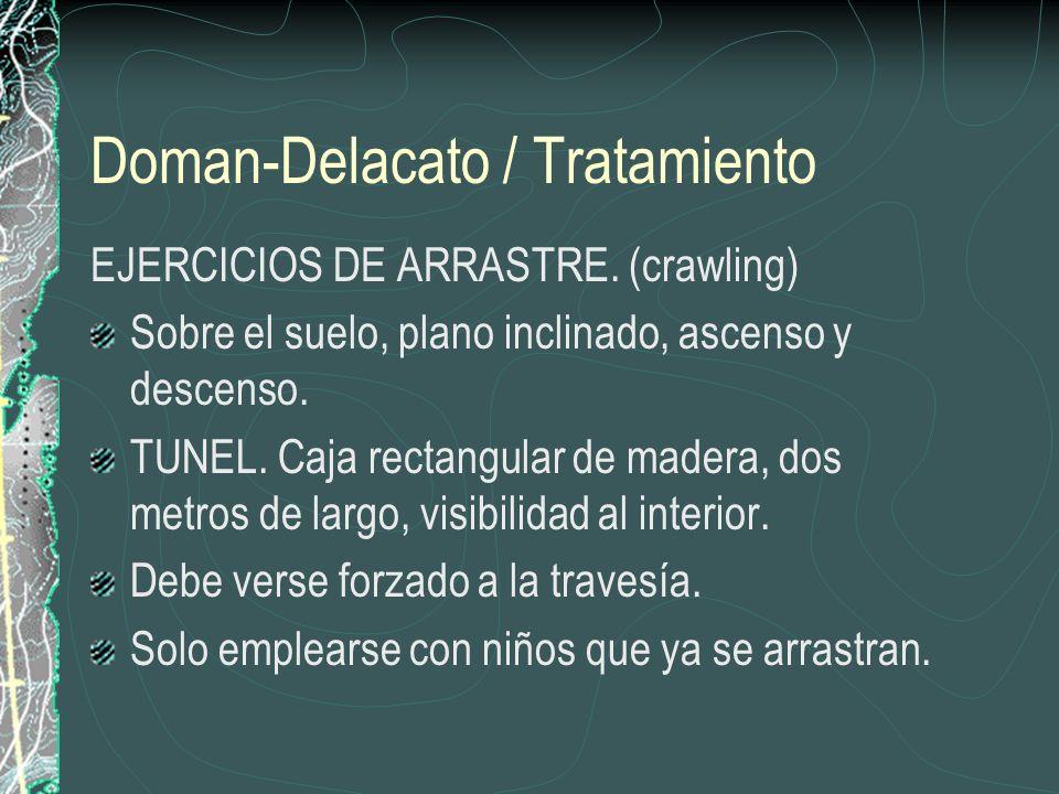 Doman-Delacato / Tratamiento EJERCICIOS DE ARRASTRE. (crawling) Sobre el suelo, plano inclinado, ascenso y descenso. TUNEL. Caja rectangular de madera