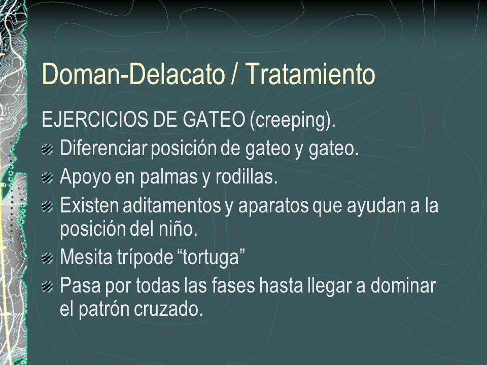 Doman-Delacato / Tratamiento EJERCICIOS DE GATEO (creeping). Diferenciar posición de gateo y gateo. Apoyo en palmas y rodillas. Existen aditamentos y