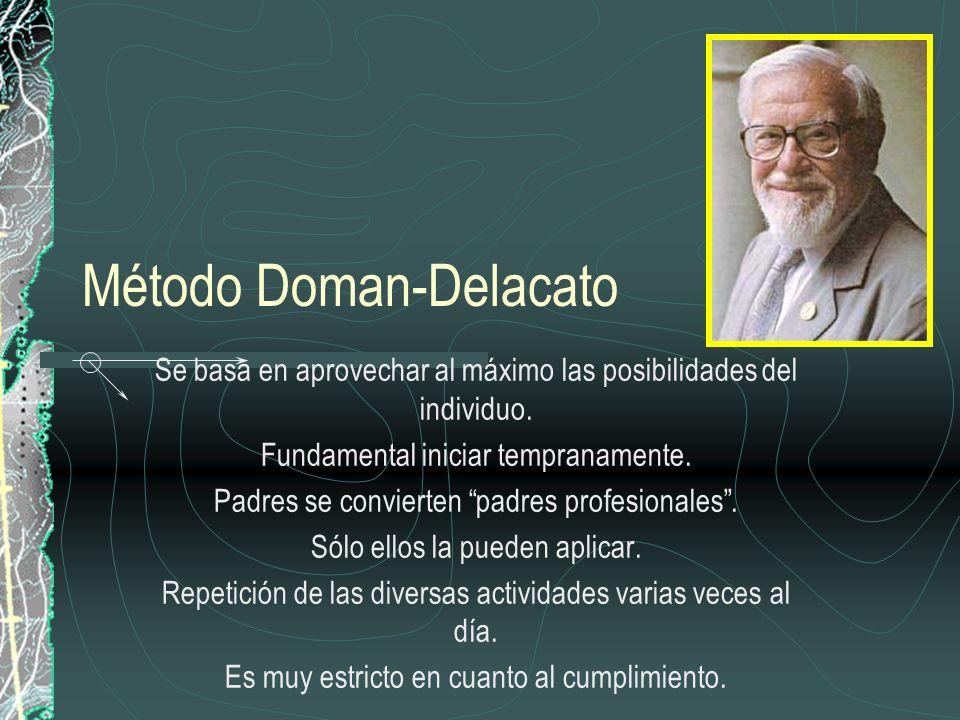 Método Doman-Delacato Se basa en aprovechar al máximo las posibilidades del individuo. Fundamental iniciar tempranamente. Padres se convierten padres