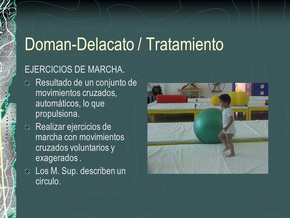 Doman-Delacato / Tratamiento EJERCICIOS DE MARCHA. Resultado de un conjunto de movimientos cruzados, automáticos, lo que propulsiona. Realizar ejercic