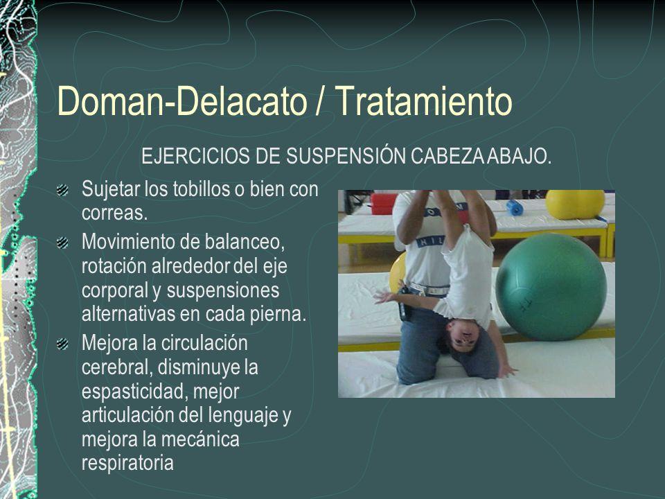 Doman-Delacato / Tratamiento Sujetar los tobillos o bien con correas. Movimiento de balanceo, rotación alrededor del eje corporal y suspensiones alter