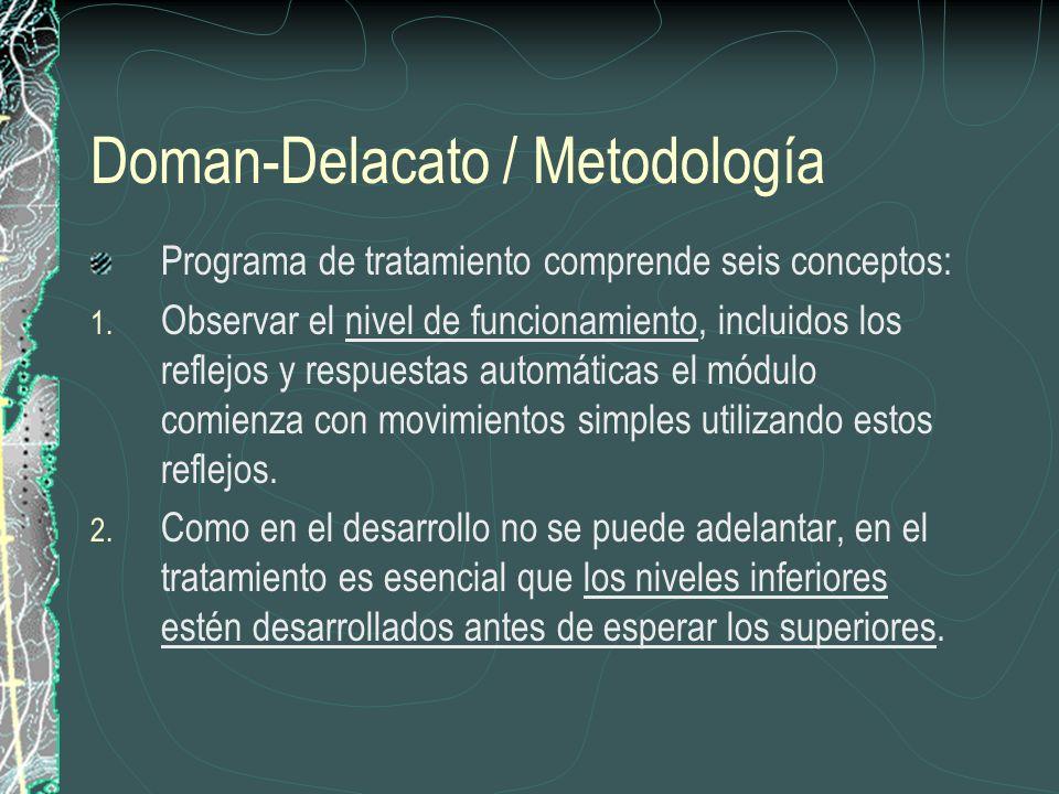 Doman-Delacato / Metodología Programa de tratamiento comprende seis conceptos: 1. Observar el nivel de funcionamiento, incluidos los reflejos y respue