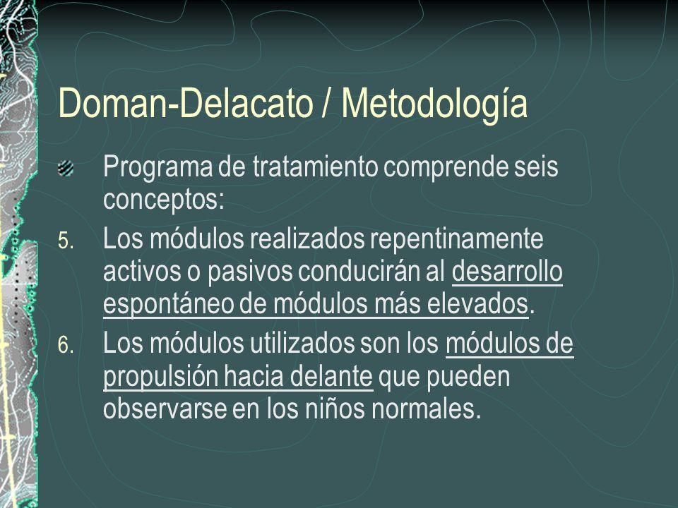 Doman-Delacato / Metodología Programa de tratamiento comprende seis conceptos: 5. Los módulos realizados repentinamente activos o pasivos conducirán a