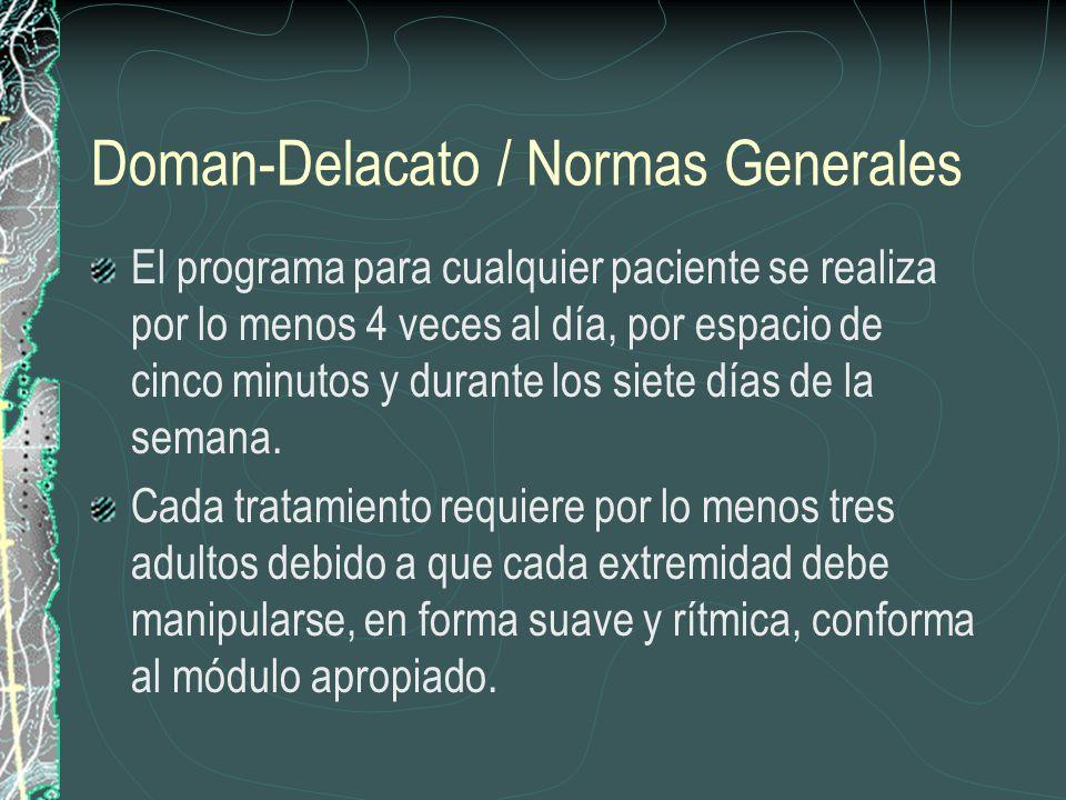 Doman-Delacato / Normas Generales El programa para cualquier paciente se realiza por lo menos 4 veces al día, por espacio de cinco minutos y durante l