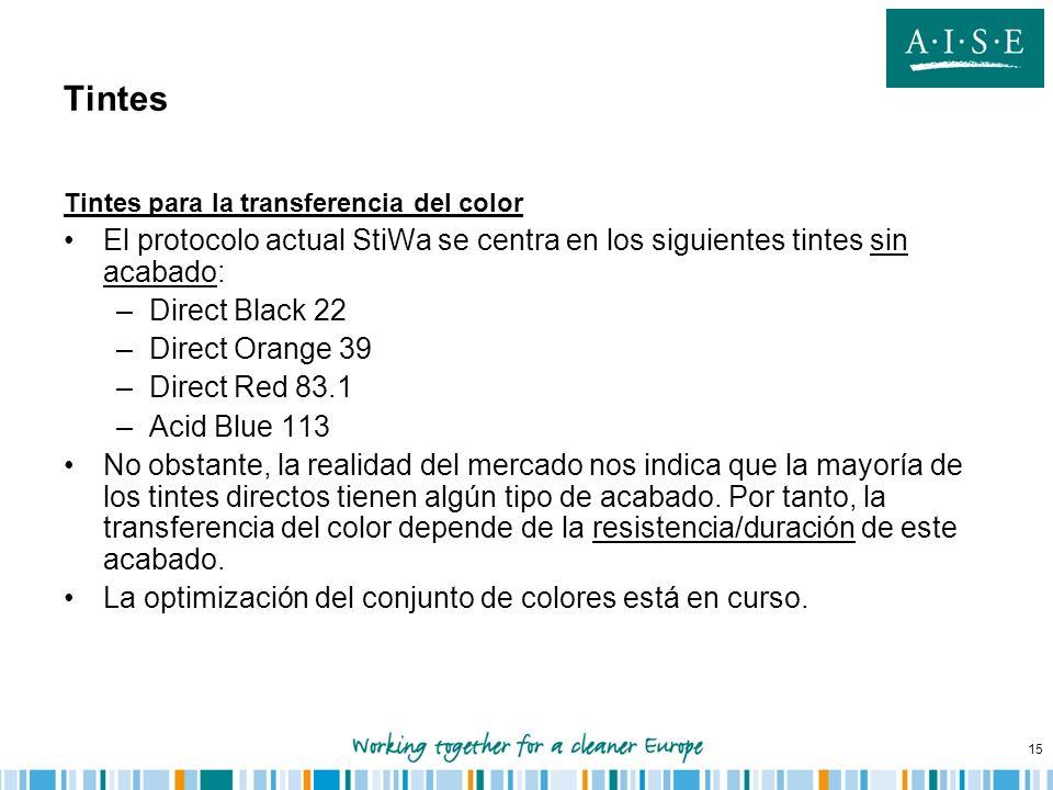 15 Tintes Tintes para la transferencia del color El protocolo actual StiWa se centra en los siguientes tintes sin acabado: –Direct Black 22 –Direct Or