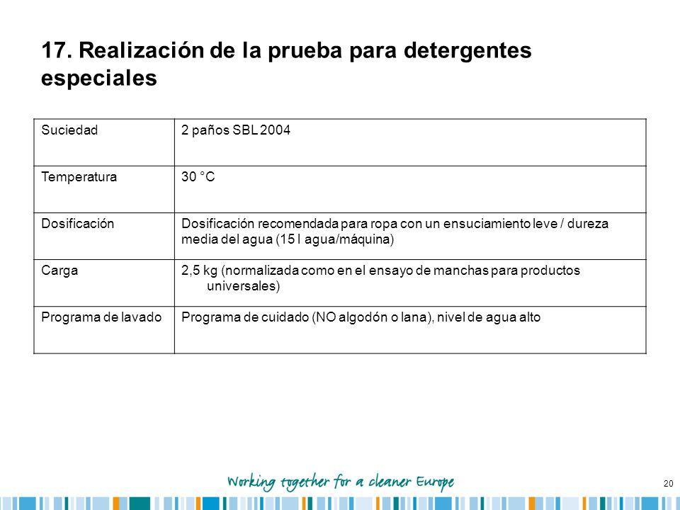 20 17. Realización de la prueba para detergentes especiales Suciedad2 paños SBL 2004 Temperatura30 °C DosificaciónDosificación recomendada para ropa c