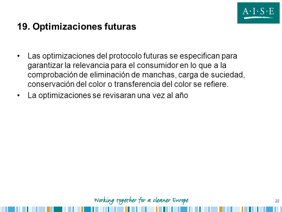 22 19. Optimizaciones futuras Las optimizaciones del protocolo futuras se especifican para garantizar la relevancia para el consumidor en lo que a la