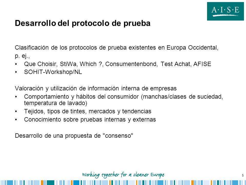 5 Desarrollo del protocolo de prueba Clasificación de los protocolos de prueba existentes en Europa Occidental, p. ej., Que Choisir, StiWa, Which ?, C